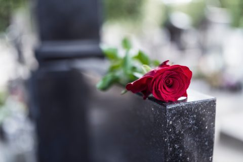 General image of red rose laid on top of black granite headstone