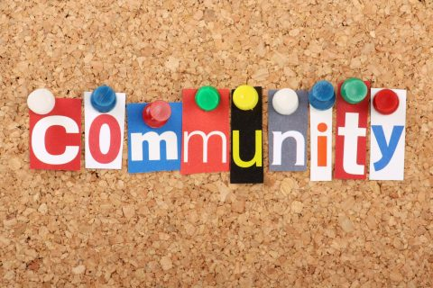 Community written on pin board