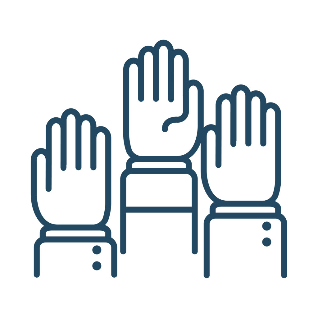 Human Hands Raised Graphic in Green on White