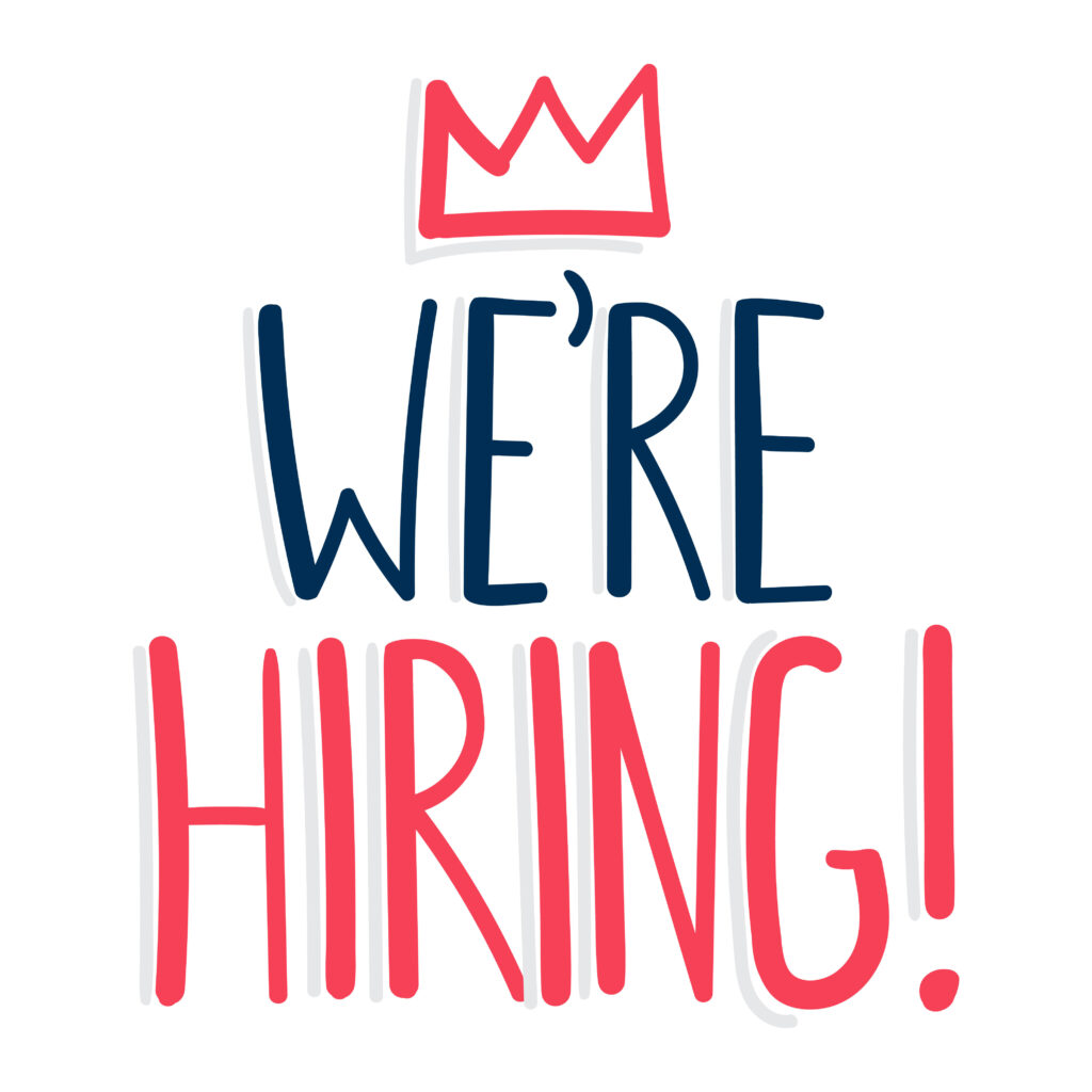 We are hiring lettering in red and blue with crown over we're